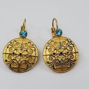 Avon Earrings Boho Blue Rhinestone Gold Tone Swirl